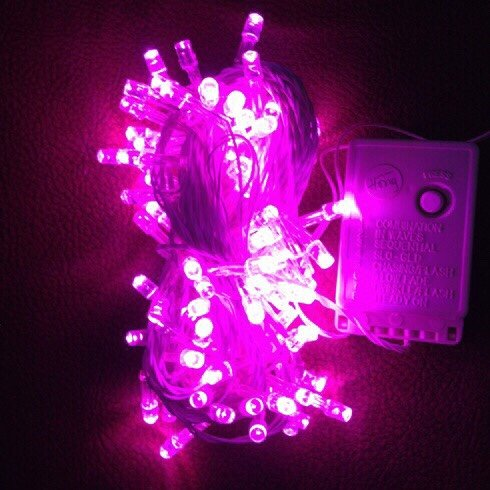 dây đèn trang trí noel màu hồng
